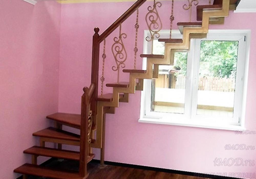 """Фото 18: модульная лестница эконом-класса на 2 этаж Г-образная """"Элегант""""- фото 18 в фотогалерее."""