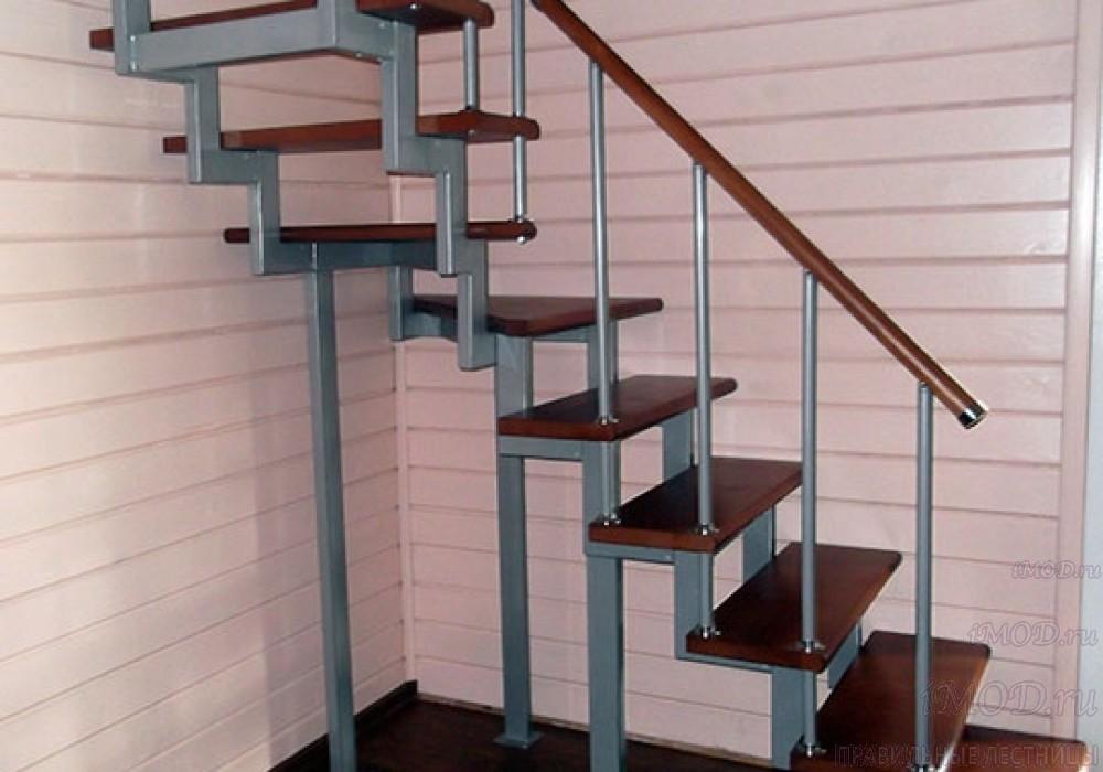 """Фото 14: модульная лестница эконом-класса на 2 этаж Г-образная """"Элегант""""- фото 14 в фотогалерее."""