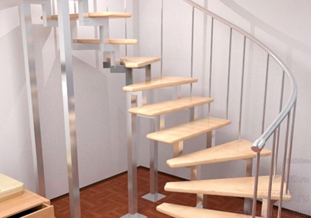 """Фото 11: модульная лестница на 2-й этаж эконом-класса П-образная """"Элегант"""" - фото 11 фотогалереи."""