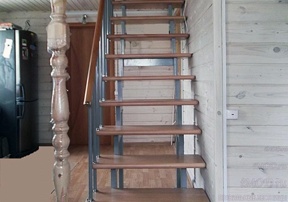 """Фото 16: модульная прямая лестница на 2-й этаж эконом-класса""""Элегант"""" - фото 16 фотогалереи """"Лестницы""""."""
