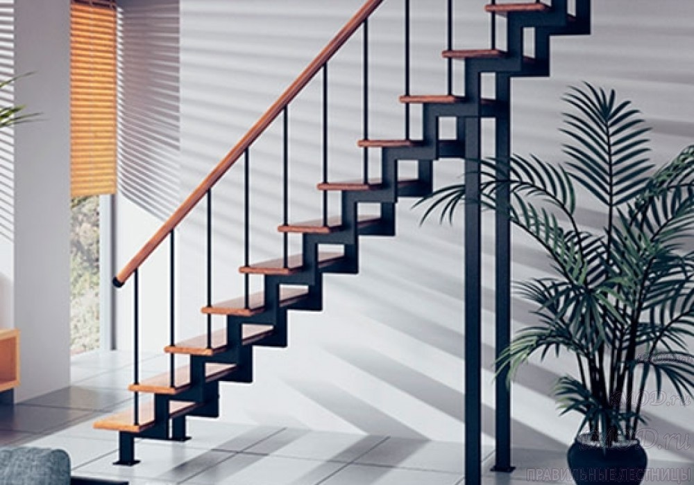"""Фото 8: модульная прямая лестница на 2-й этаж эконом-класса""""Элегант"""" - фото 8 фотогалереи """"Лестницы""""."""