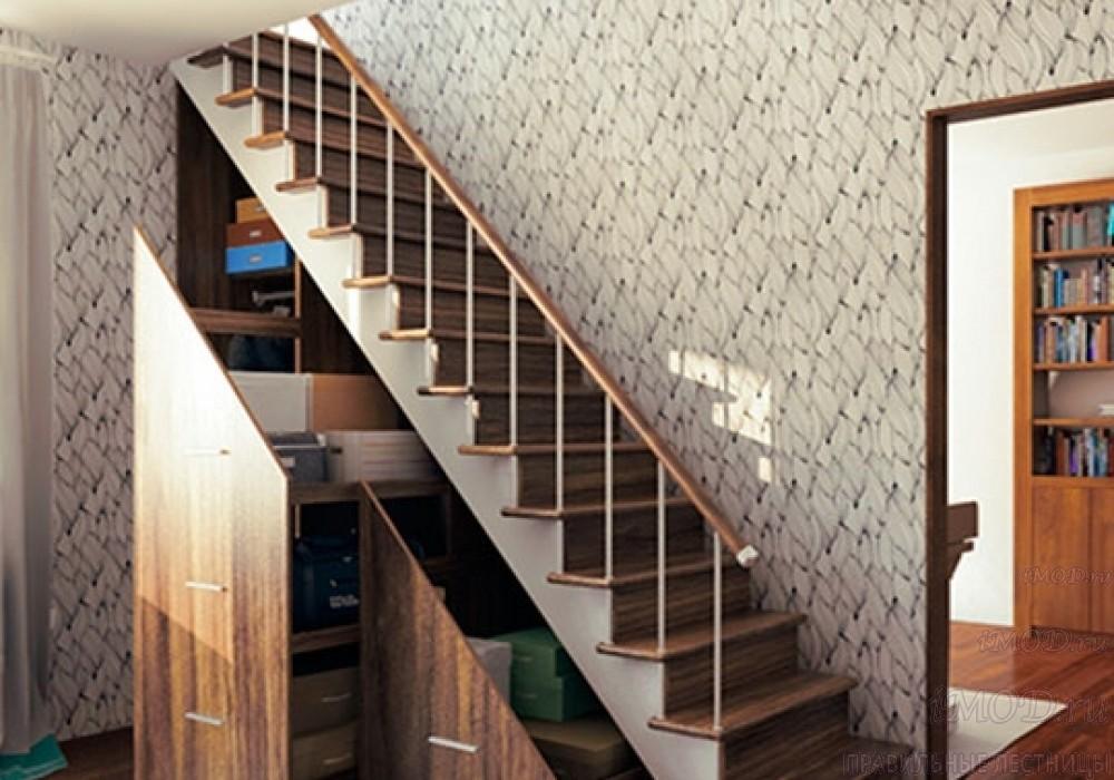 """Фото 5: модульная прямая лестница на 2-й этаж эконом-класса""""Элегант"""" - фото 5 фотогалереи """"Лестницы""""."""