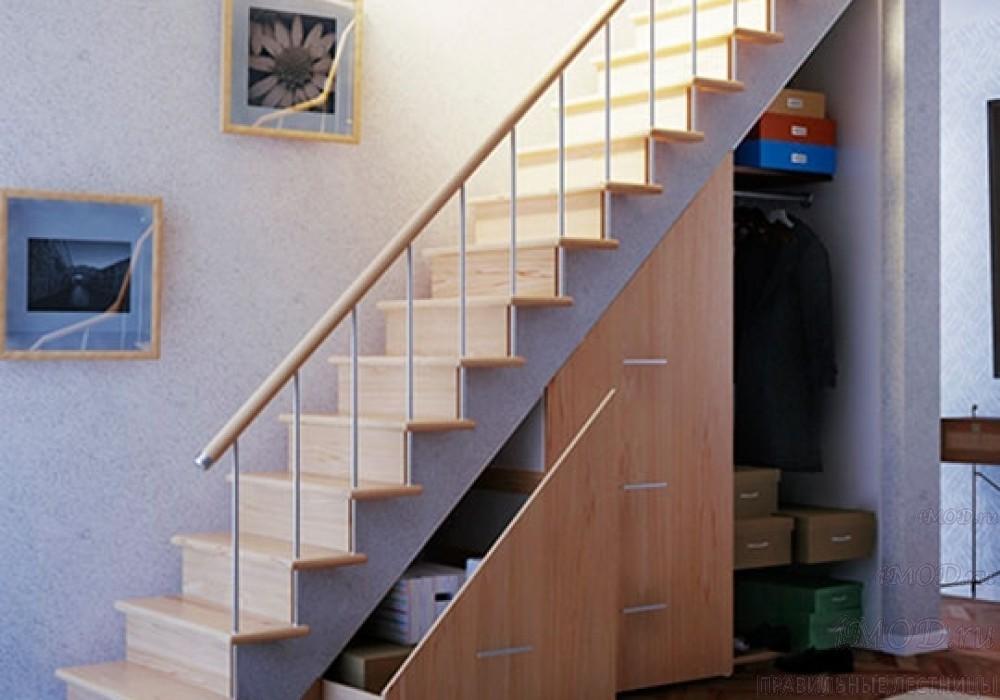 """Фото 3: модульная прямая лестница на 2-й этаж эконом-класса""""Элегант"""" - фото 3 фотогалереи """"Лестницы""""."""