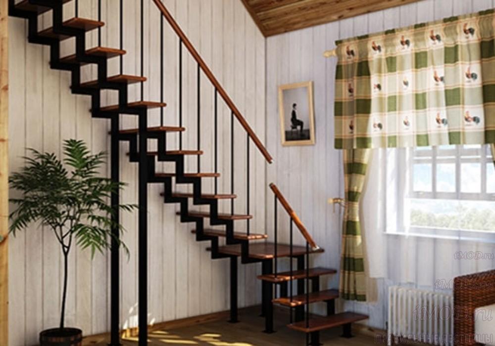 """Фото 15: модульная прямая лестница на 2-й этаж эконом-класса""""Элегант"""" - фото 15 фотогалереи """"Лестницы""""."""