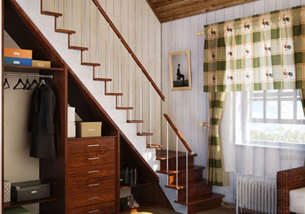 """Фото 14: модульная прямая лестница на 2-й этаж эконом-класса""""Элегант"""" - фото 14 фотогалереи """"Лестницы""""."""